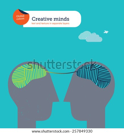 Heads with balls of yarn brains wool cord connecting them. Vector illustration Eps10 file. Global colors. Text and Texture in separate layers. - stock vector