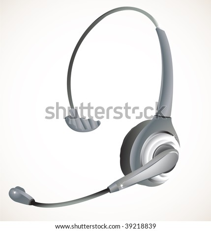 Headset commonly used in a call center environement. Linear and Radial gradients, eps 8. - stock vector
