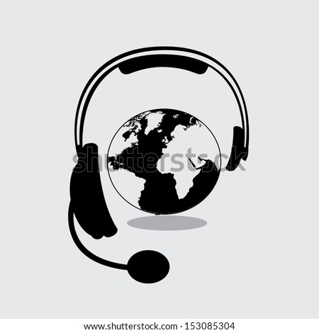 headset design over gray background vector illustration - stock vector