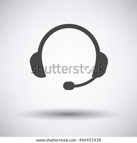 Headset icon on gray background, round shadow. Vector illustration.