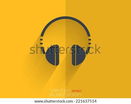 Headset icon on yellow background - EPS10 - stock vector