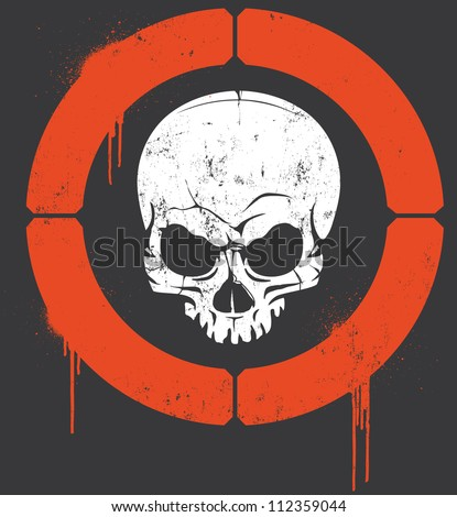 Headshot Vector Vector illustration of a hand drawn vintage skull with target around it's head. Skull, target and graffiti paint splatters are on a separate layer from grunge texture. - stock vector