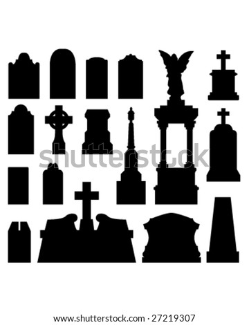 Headstone and gravestones as vector silhouettes - stock vector