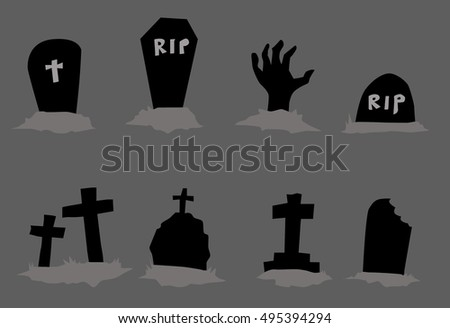 headstone icon element set for Halloween. vector illustration