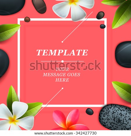 Health and beauty frame template, concept for spa salon, vector illustration. - stock vector