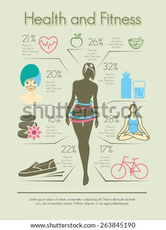 Health and fitness graphic concept - stock vector