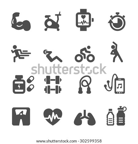 health and fitness icon set, vector eps10. - stock vector