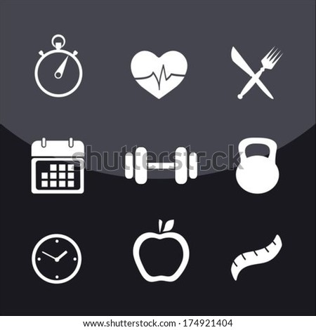Health and Fitness icons  - stock vector