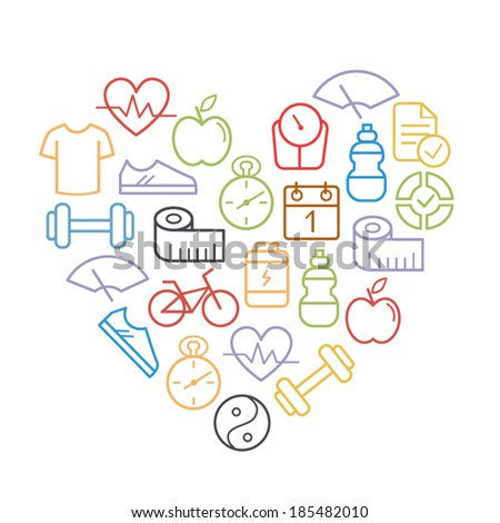 Health and fitness icons shaped a heart - stock vector