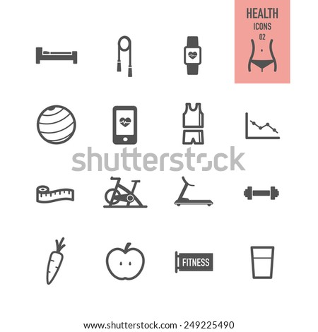 Health and fitness icons. Vector illustration. - stock vector
