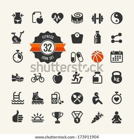 Health and fitness - web icon set - stock vector