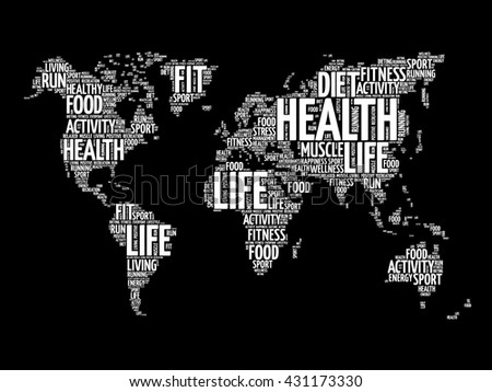 Health life world map typography sport stock vector 431173330 health and life world map in typography sport health fitness word cloud concept gumiabroncs Choice Image
