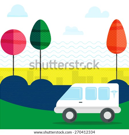 Health and Medical concept with city view and an ambulance running on the road. - stock vector
