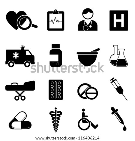 Health and medical icon set - stock vector