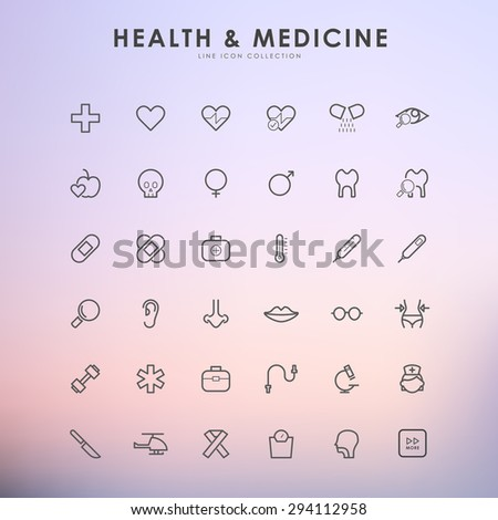 health and medicine minimal line icons on gradient background - stock vector