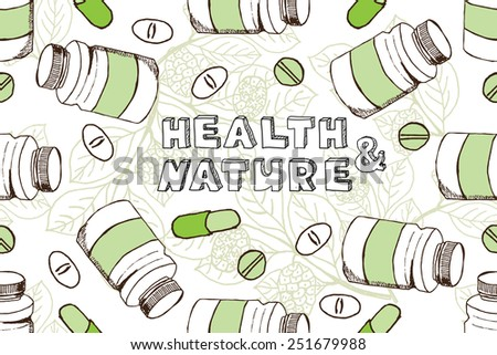 Health and Nature Supplements Collection.  Bckground with herbs and pills.  Noni Fruit   - Morinda Citrifolia  - stock vector