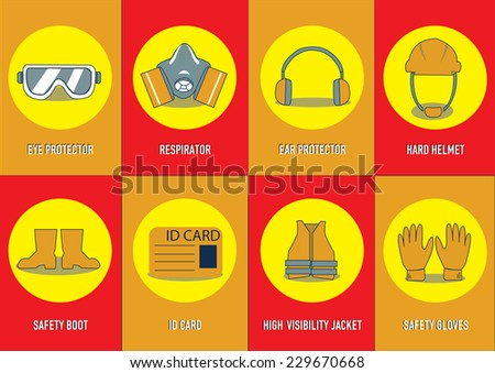 health and safety warning, mandatory signs (eye protector, respirator, ear protector, safety gloves, hard helmet, high visibility jacket, safety boot, id card). vector illustration  - stock vector