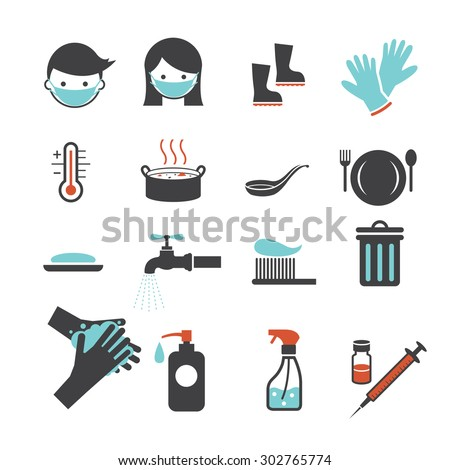 Health and Sanitation Icons Set, Cleanness, Contagious Disease Prevention and Secure - stock vector