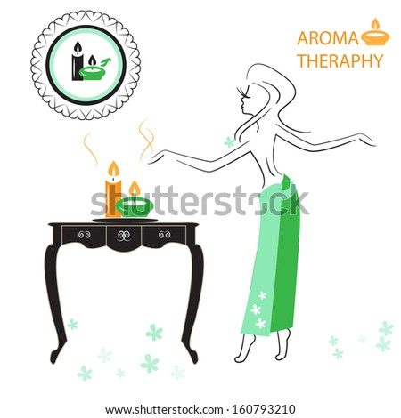 Health And Spa: Girl Enjoying Aromatherapy. Part of Spa icons set. - stock vector