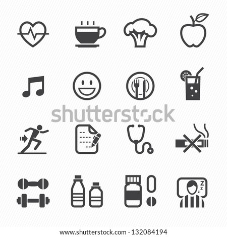Health and Wellness icons with White Background - stock vector