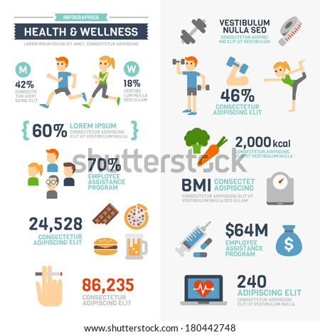 Health and Wellness Infographics  - stock vector