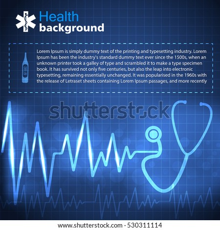 Health blue background with pulse and medicine symbols flat vector illustration