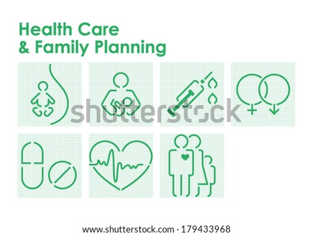 Health Care and Family Planning Symbols - stock vector