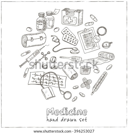 Health care and medicine drawings. Sketches. Hand-drawing. Vector illustration of for design and packages product. Vector Illustration.