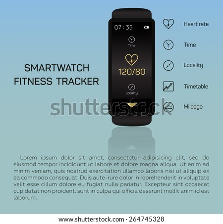 Health care, bracelet, hand, heart rate, time, locality, mileage, fitness tracker, jogging, pace, blue background - stock vector