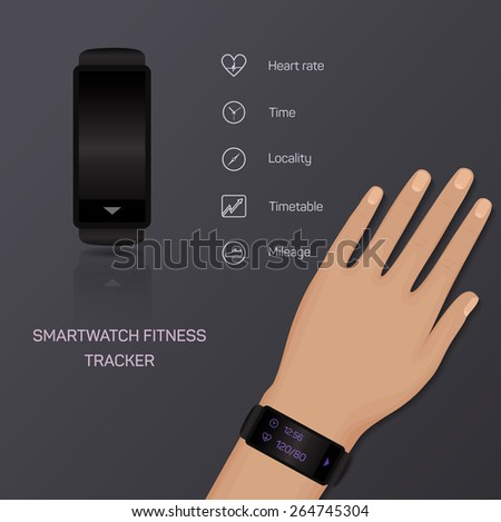 Health care bracelet hand heart rate time locality mileage fitness tracker jogging pace. Vector - stock vector
