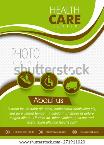 Health Care Center template, brochure or flyer design with place holder for your photo and medical symbols.  - stock vector