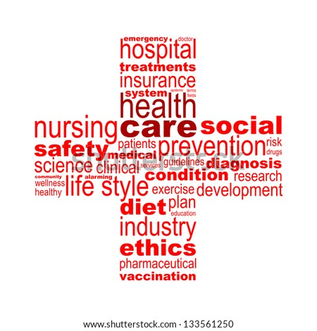 Health care concept made with words drawing a health cross - easy colors change by selecting same fill color - stock vector