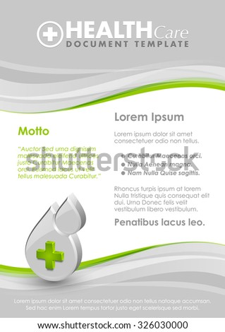 Health care document template with three dimensional glossy blood drop with cross icon - stock vector