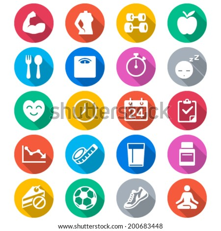 Health care flat color icons - stock vector
