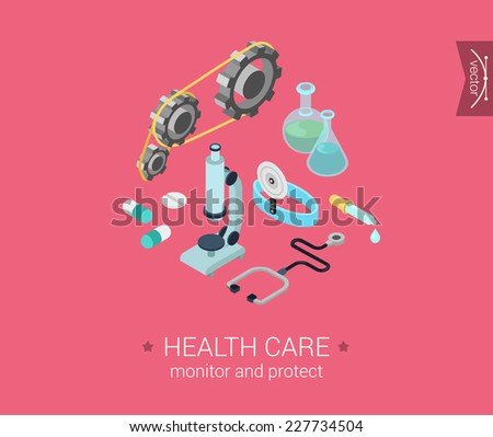 Health care flat 3d isometric pixel art modern design concept vector icons composition set. Microscope, gears, stethoscope, cask, bulb, cure pills. Web illustration flat click infographics collection. - stock vector