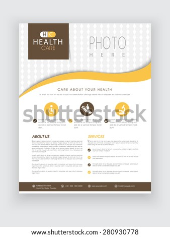 Health Care flyer with medical icons and proper place holder for image and content, can be used as template, poster or brochure. - stock vector