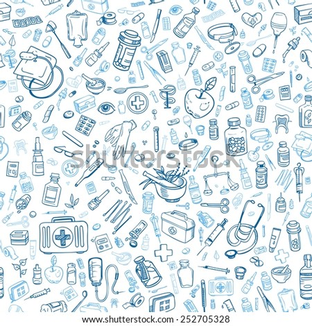 Health care hand drawn seamless background, vector  - stock vector