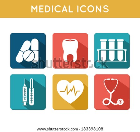 Health care medical icons set of blood tube thermometer syringe and heart rate isolated vector illustration - stock vector