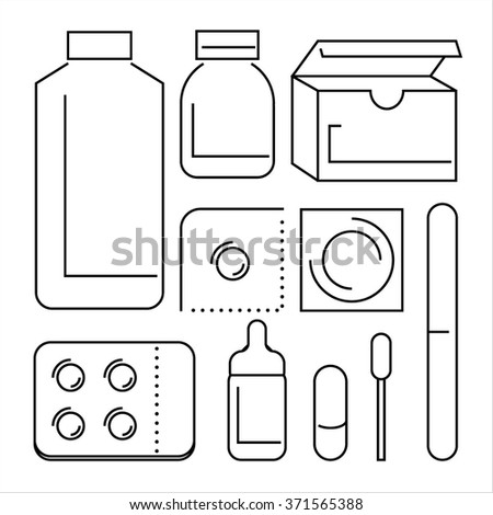 health care medical pills and medicines thin line pictogram  - stock vector