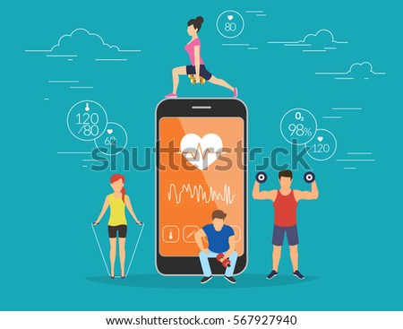 Health care mobile app concept illustration. Young men and women are standing near big smartphone with app for sport and fitness tracking heart beating data and getting information of pulse rate