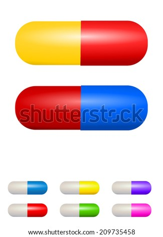 Health care objects, medicine concept - Group of colorful shiny vitamin capsule and pill set. Realistic design, vector art image illustration, isolated on white background - stock vector