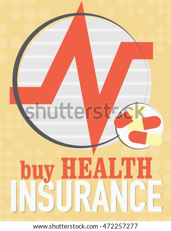 Health care poster with medical symbols - heart beat and pills