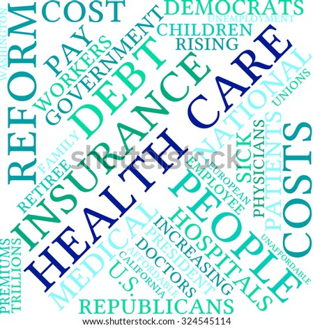 Health Care Reform word cloud on a white background.