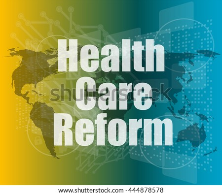 health care reform word on touch screen, modern virtual technology background vector quotation marks with thin line speech bubble. concept of citation, info, testimonials, notice, textbox. flat style - stock vector
