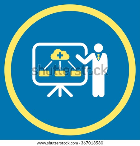 Health Care Structure Report vector icon. Style is bicolor flat circled symbol, yellow and white colors, rounded angles, blue background. - stock vector