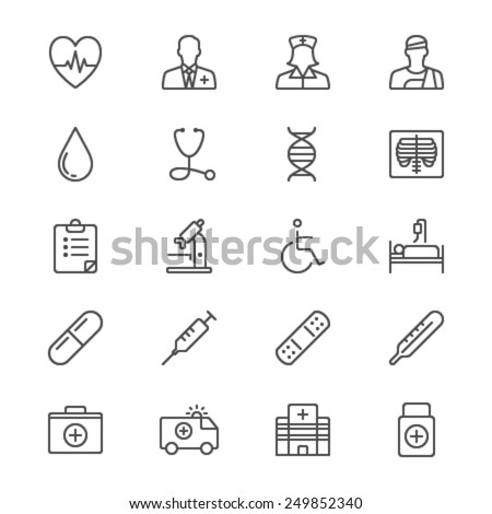Health care thin icons - stock vector