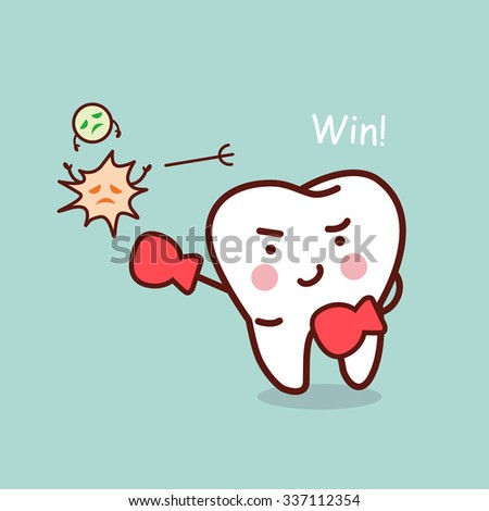 health cartoon tooth boxing with bacteria, great for health dental care concept - stock vector