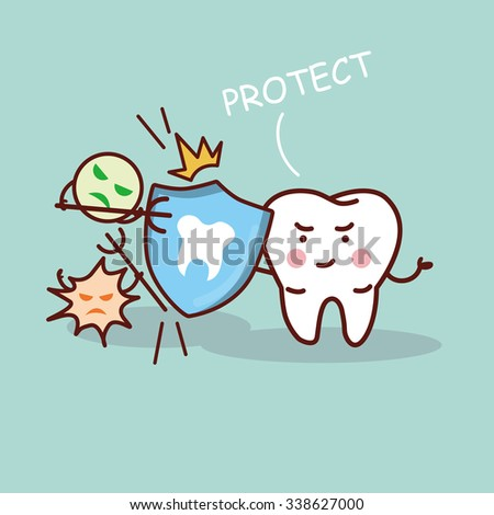 health cartoon tooth with shield, great for health dental care concept - stock vector