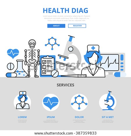 Health checkup medical diagnostics laboratory lab test hospital service concept flat line art vector icons. Modern website infographics illustration hero image web banner. Lineart collection.