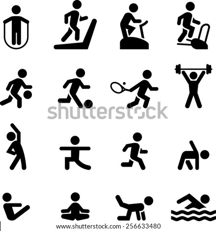 Health club, gym and athletic icon set. Vector icons for digital and print projects. - stock vector